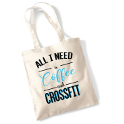 All I need is coffee and crossfit funny gym workout fitness text printed natural tote bag