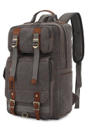 BinKe Canvas Backpack, Students Vintage Canvas Men Backpack Unisex Bag Travel Rucksack Shoulder with Large Capacity for Laptop / Travel / Hiking - Light Coffee