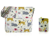 SALE SALE - New Childrens Designer Style Canvas MIXED CAT Print Cross body Messenger Bag With matching Purse- JC Kids 'Back to School' Collection Cross body Bag