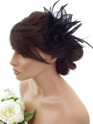 Elegant Black Fascinator Hatinator on a Hair Grip with Feathers Pill Box Style for Weddings Races Cocktail