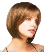 MIKWIG Natural Short Bob Straight Heat Resistant Synthetic Brown Hair Wig for Women