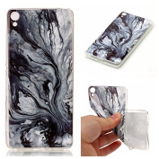For Sony Xperia XA Case [With Tempered Glass Screen Protector],Qimmortal(TM) Silicone Case Printed Marble Stone Pattern TPU Bumper Protective Slim Gel Skin Rubber Case Flexible Shock Scratch Resist Protection Shell for Sony Xperia XA - Dark colour