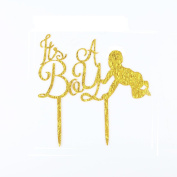 Ri-goo It's A Boy Acrylic Gold Glitter Cake Topper Gender Reveal Baby Shower Birthday Party Decorationation