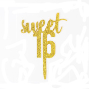 Sweet 16 Gold Glitter Acrylic Cake Topper Birthday Anniversary Party Decoration Supplies