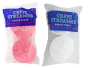 Pink and White Crepe Paper Streamers (2 Rolls Each Colour) MADE IN USA!