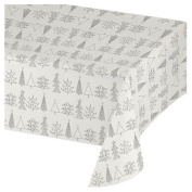 Spritz™ Solid Tablecovers with Christmas Trees - White