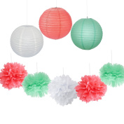 9PCS Coral Mint White Decorative Party Paper Pack Hanging Paper Lantern Pom Poms Wedding Flower Centrepieces Birthday Shower Hanging Paper Ball Nursery Decoration
