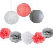 9PCS Coral Grey White Decorative Party Paper Pack Hanging Paper Lantern Pom Pom Balls Wedding Flower Centrepieces Birthday Girl Baby Shower Decoration