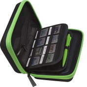 BRENDO New 3DS XL Carrying Case with 24 Game Cartridge Holders and a Large Stylus - BLACK/LIME GREEN .