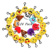 Emoji Mini Plush Pillows for Party Decorations ,5.1cm Keychain Cushion Bag Fillers BirthdayToys, Kids Party Supplies Favours. Idea Gifts for Festival