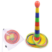 COSMOS Colourful Plastic Detachable Sport Ring Toss Game Set with Carrying Mesh Bag