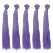 25x100cm Popular Straight Purple Heat Resistant Hair Wefts Handcraft Materials 5pcs/lot