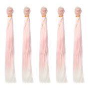 5pcs/lot,25x100cm Straight Light Pink to White Ombre Synthetic Doll Hair Extension for DIY BJD Blythe Pullip Doll's Wig