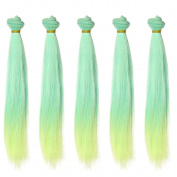 5pcs/lot 25cm Long Straight Synthetic Green to Yellow Ombre Handcraft Hair Wefts for Making BJD Blythe Pullip Doll's Wig