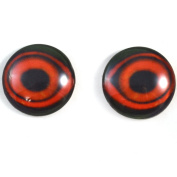 Pair of Red Duck Eyes 25mm Glass Eye for Taxidermy Sculptures or Jewellery Making Pendants Crafts Art Doll Wire Wrapping DIY Flatback Cabochon