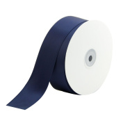 2.5cm - 1.3cm Wide Double Face Polyester Satin Ribbon - 50 Yard, Navy Blue