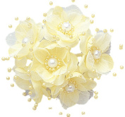 36 Wedding Bridal Pearl Satin Organza Flower Favour Pick - yellow