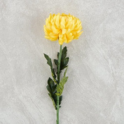 60cm Long Yellow Artificial Mum Floral Stem for Crafting, Arranging and Displaying