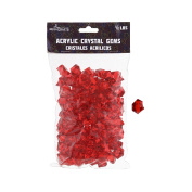 Mega Crafts 0.2kg Acrylic Ice Rock Cubes Red | Plastic Glass Gems For Arts And Crafts, Vase Fillers And Table Scatters, Decoration Stones, Shiny Pebbles