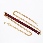 M-W 140cm DIY PU Leather Strap With Gold Iron Chain Handbag Chain Accessories Purse Straps Shoulder Cross Body Replacement Straps, with 2pcs Metal Buckles