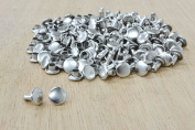 100 pk Nickel 0.6cm Small Double Cap Rivets Leather Craft Supplies