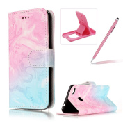 For Huawei P8 Lite 2017 Case,For Honour 8 Lite Leather Cover,Herzzer Stylish Elegant [Pink Blue Marble Pattern] Book Style Premium PU Leather Wallet Deisgn with Card Holder Slots Magnetic Closure Smart Stand with Inner Soft Rubber Bumper Full Body Prot ..