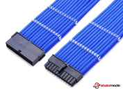 Shakmods 24 Pin ATX Motherboard Dark Blue Heatshrinkless Sleeved Extension Cable with 2 Free Cable Comb 30cm