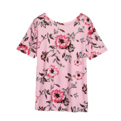 GBSELL Women's Girl Fashion Summer Floral Print Casual T Shirt Blouse Top