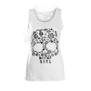 GBSELL Women's Girl Fashion Summer Lace Back Skull Printed Shirt Tank Top