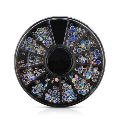 Nail Art, YJYdada Nail Art Rhinestone Acrylic Crystal Case Micro 3D DIY Decorations Jewellery Wheel