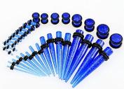 Fashion Jewellery Ear Taper Stretching Kit Plugs Blue Glitter Gauges Set