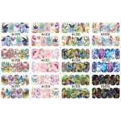 C-Pioneer 12 Sheets Beauty Animal Butterfly Water Transfer Nail Art Stickers Decals