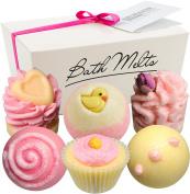 "BRUBAKER 6 Handmade ""Pink Jasmine"" Bath Melts Bath Bombs - All Natural Vegan, Organic Shea Butter, Cocoa Butter and Olive Oil - Moisturises Dry Skin"