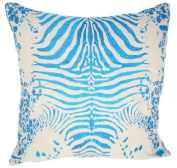 Tiger Turquoise Cotton Linen - 50cm x 50cm . Pillow