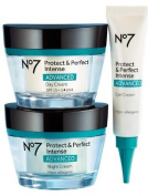Boots No7 Protect & Perfect Intense Advanced 3 Piece Skincare System Serum Day & Night Cream SPF15