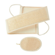 2-Piece Set Loofah Back Scrubber Strap and Exfoliate Pad - Bath and Shower Body Exfoliator Kit