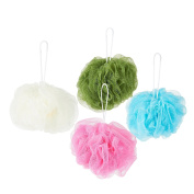 Body Wash Sponge Bath Puff - 4-Pack Exfoliating Mesh Shower Pouffe Loofah in 4 Assorted Colours, 5 x 13cm x 10cm