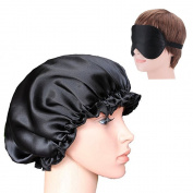 Natural Silk Night Cap for Sleeping Makeup with Eye Mask Soft Mulberry Silk Bonnet Keep Hair in Place from Frizzing out at Night Black Medium Size
