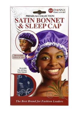 Donna's Premium Reversible Satin Bonnet & Sleep Cap Navy