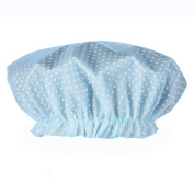 2Pcs Lady Elastic Waterproof Lined Reusable Shower Cap With Polka Dots Double Layer Waterproof Plastic Shower Bathing Salon Hair Cap
