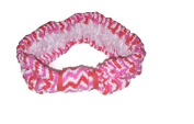 Skincare Facial Headband and Spa Wrap Stretchy Pink and White Microfiber