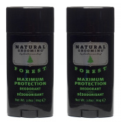 Herban Cowboy Natural Grooming Maximum Protection Deodorant, Forest Scent (Pack of 2) with Aloe Vera, Rice, Rosemary, Parsley and Sage, Organic and 100% Vegan, Paraben and Aluminium Free, 80ml each