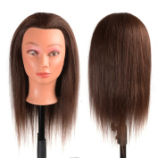 41cm Hairdressing Mannequin Head 40% Real Human Hair Cosmetology Mannequins for Training with Free Clamp Holder Brown