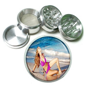 """American Beach Babes USA Pin Up Girl S6 Chrome Silver 2.5"""" Aluminium Magnetic Metal Herb Grinder 4 Piece Hand Muller Herb & Spice Heavy Duty 63mm"""