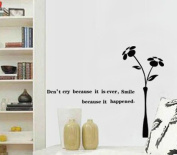 BIBITIME Black Vase Flower Sayings Don't cry because it's over smile because it happened Wall Quotes Sticker for Kids Room Nursery Bedroom,50cm x 40cm