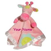 Personalised Pink Giraffe Lil Snugglers Baby Snuggle Blanket Gift- 33cm