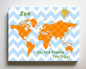 Dr Seuss, Personalised Canvas Nursery Chevron World Map, Customised Baby Name Wall Art Decor, Unique Educational Painting, Memorable Boys & Girls Gift, Giclee Print Stretched on 100% Wood Frame 24X30