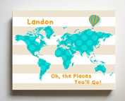 Dr Seuss, Personalised Canvas Nursery Striped World Map, Customised Baby Name Wall Art Decor, Unique Educational Painting, Memorable Boys & Girls Gift, Giclee Print Stretched on 100% Wood Frame 20X24