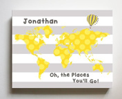 Dr Seuss, Personalised Canvas Nursery Striped World Map, Customised Baby Name Wall Art Decor, Unique Educational Painting, Memorable Boys & Girls Gift, Giclee Print Stretched on 100% Wood Frame 16X20