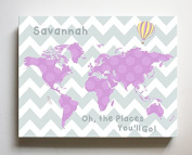Dr Seuss, Personalised Canvas Nursery Chevron World Map, Customised Baby Name Wall Art Decor, Unique Educational Painting, Memorable Boys & Girls Gift, Giclee Print Stretched on 100% Wood Frame 20X24